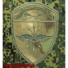 Нарукавный знак Подразделения связи Центрального округа Росгвардии расцветки Мох зеленый