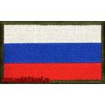 Нашивка Флаг России с липучкой кант оливкового цвета